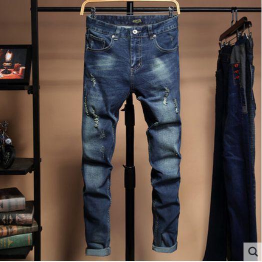 Mavi Delik A Little kişinin ahlak Mikro Elastik Jeans gibi Bir Adam Han Sürümü Tide Pençe Kötü Dilenci Elastik Taşlama Beyaz Tro Yetiştirmek