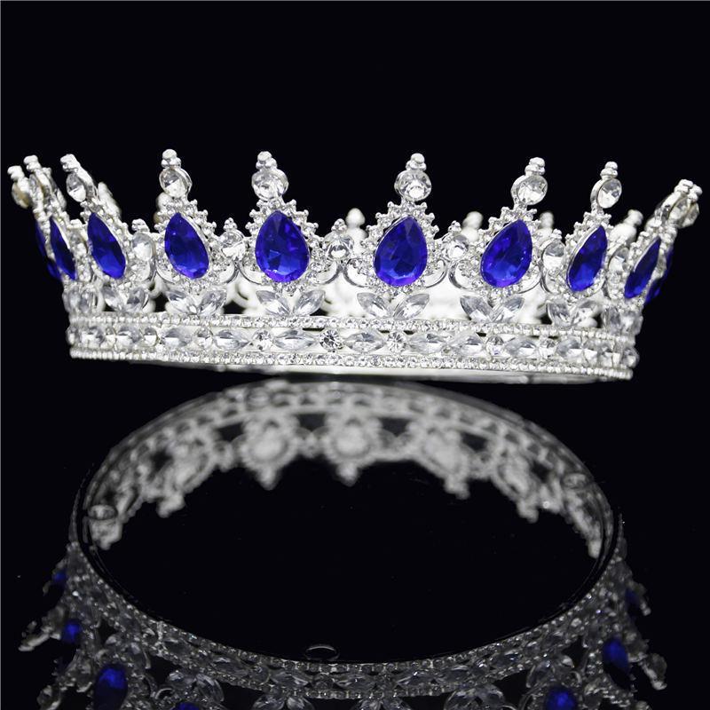 Yeni Vintage Gümüş Barok Kristal Gelin Taç Yuvarlak Diadem Kraliçe Kral Tiaras ve Kron Kafa Gelin Düğün Saç Takı
