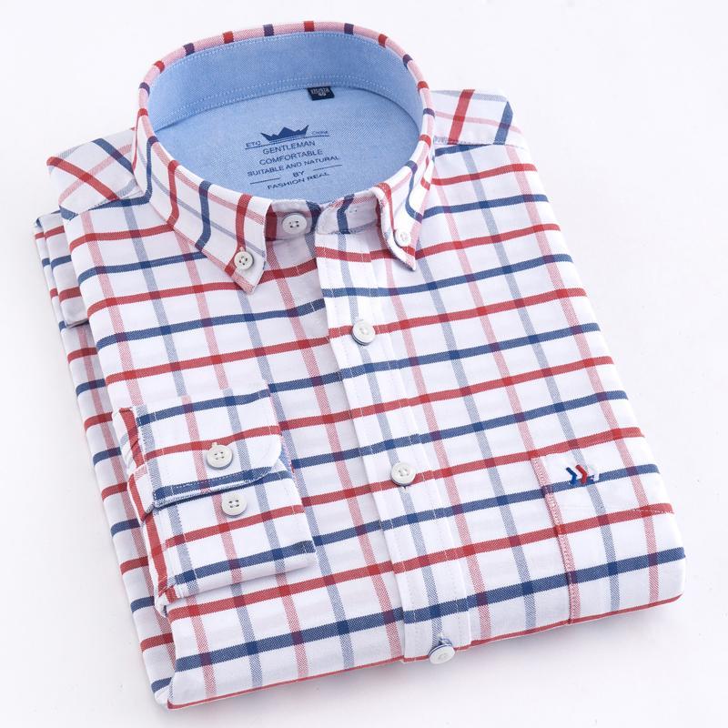 Camisas Oxford gruesa tela escocesa del algodón de rayas ocasionales de los hombres solo parche de bolsillo de la manga larga estándar de ajuste a cuadros Camisa con botones en el CX200629