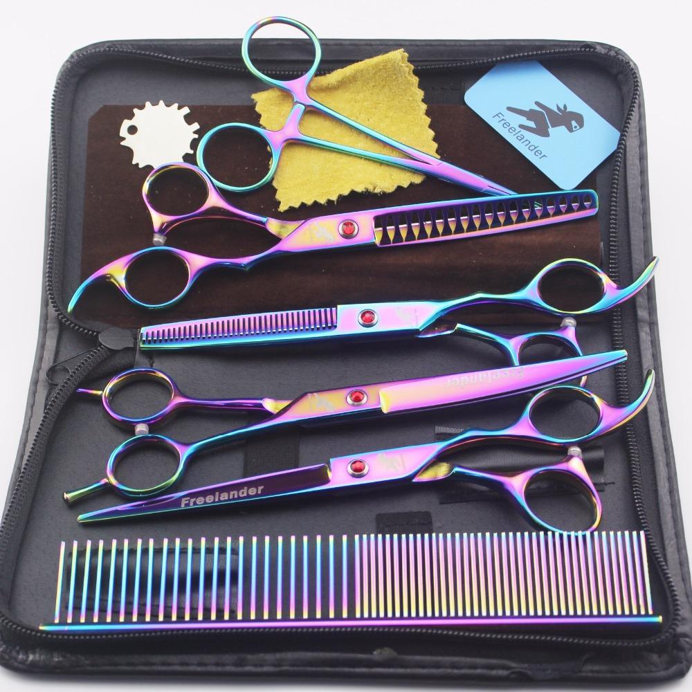 Fournitures pour animaux 7,0 pouces Electroplated couleur poisson dents os 5 paquets Toilettage pour chiens Ciseaux de coiffure Ciseaux droits incurvés Set ciseaux