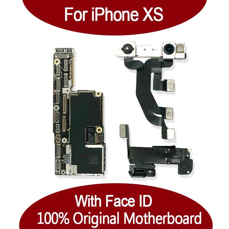 Pour iPhone Xs / Xs Max 100% déverrouillé mère d'origine avec le visage ID 64GB 256Go IOS Logic carte Avec pleine Chips pour remplacer Mainboard