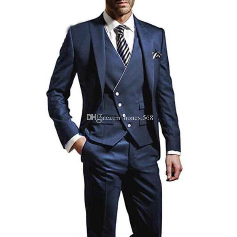 Handsome One Button Groomsmen Peak Lapel Groom Tuxedos Men Suits Wedding/Prom/Dinner Best Man Blazer(Jacket+Pants+Tie+Vest) A519
