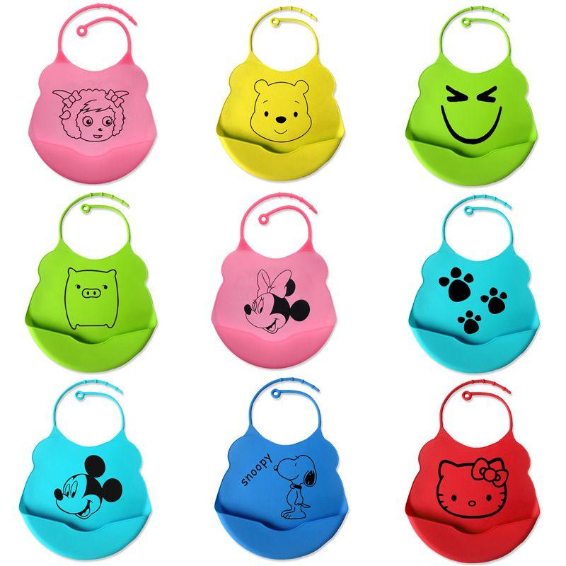 Nuovo bambino disegno pettorina impermeabile del silicone bambino alimentazione saliva tovagliolo del fumetto appena nato grembiule impermeabile forniture bambino bib