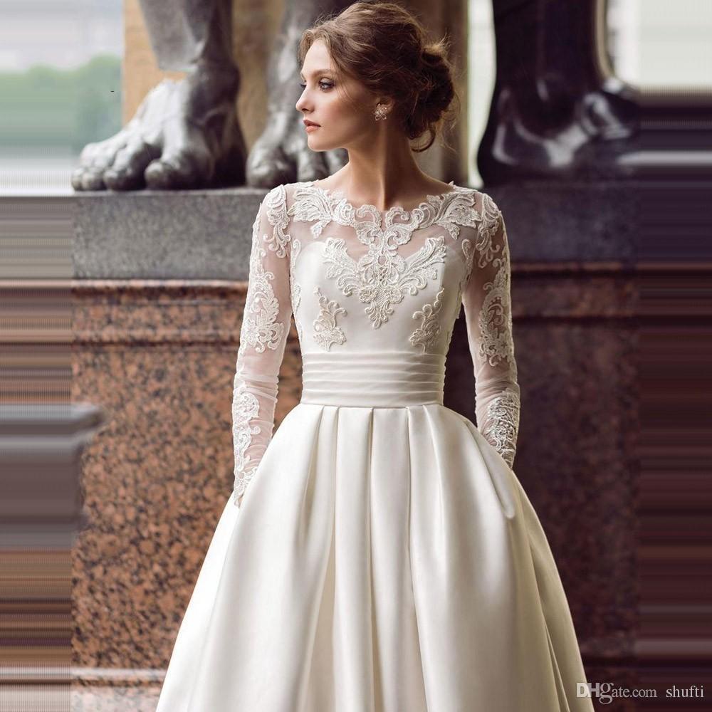 discount modest long sleeve wedding dresses with pockets scoop satin  appliqued a line 2019 bridal gown turkey vestidos de novia white bridal  wedding