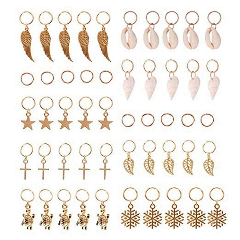 Anillos de trenza para el cabello, 50 piezas de lazos para el cabello, clips, anillo de oro, concha, hojas, concha de estrella, copos de nieve, colgantes, conjunto de clips, diadema, accesorio