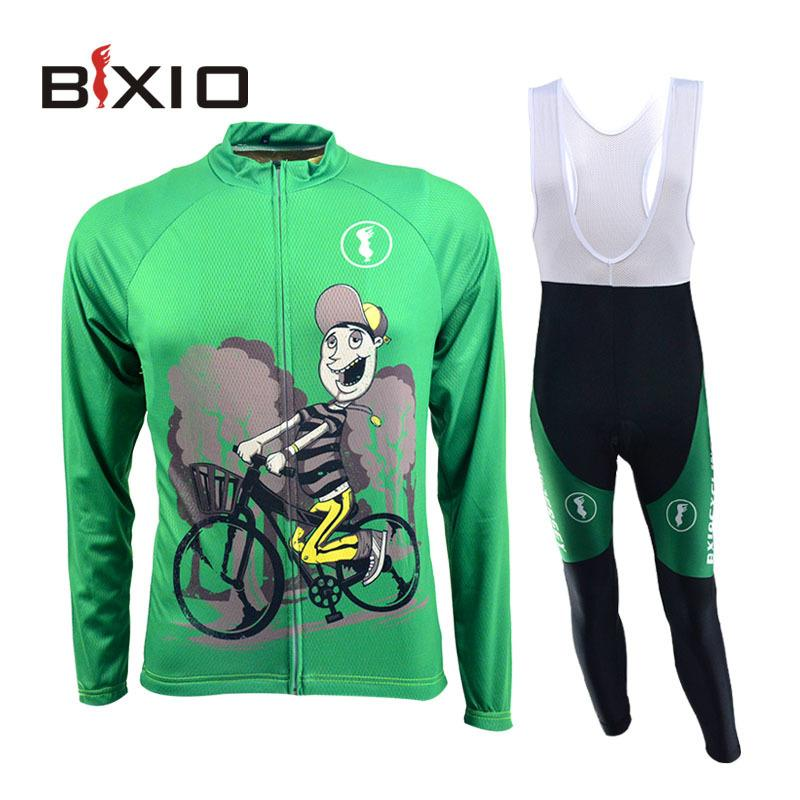 Bxio 브랜드 사이클 의류 여성 녹색 자전거 유니폼 긴 소매 스포츠 저지를 설정합니다
