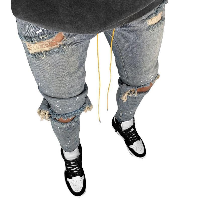 Laamei Mens kühle schwarze Jeans dünne zerrissene Zerstörte Stretch Slim Fit Hop Hop Hose mit Löchern für Männer