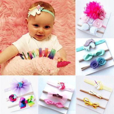 Emmababy 3шт дети девушки ребенок оголовье лук Малыш младенческой цветок волос группа аксессуары головные уборы эластичный подарок