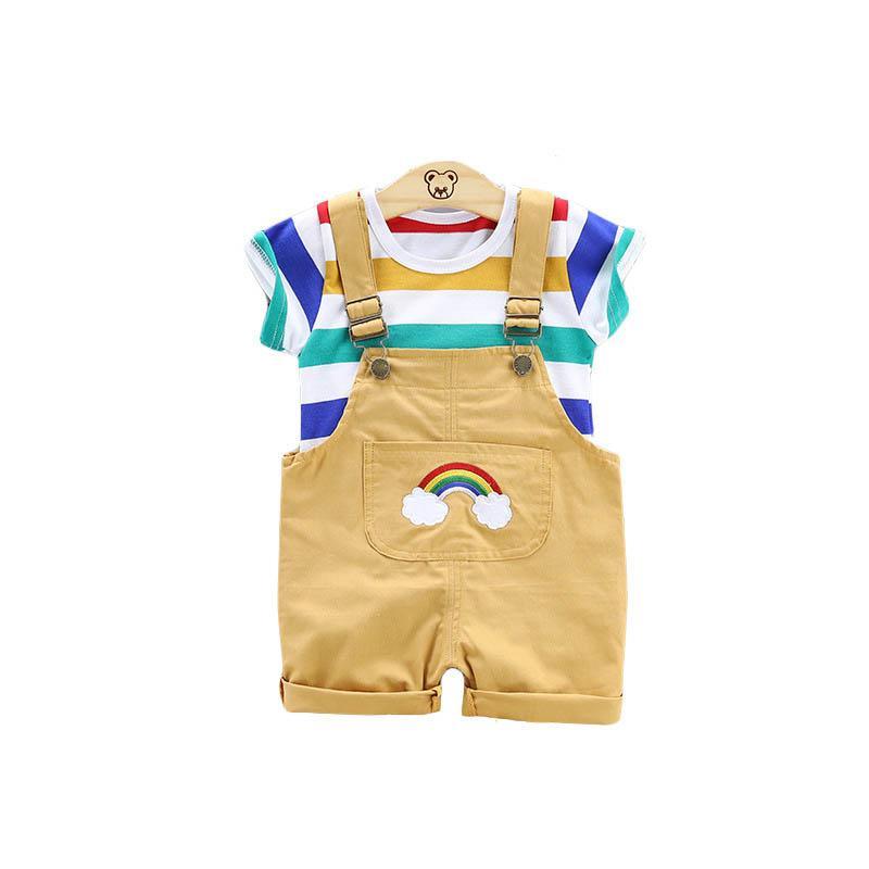 무지개 아기 정장 여름 캐주얼 소년 정장 의류 세트 티셔츠 + 멜빵 반바지 신생아 복장 소년 의류 A4975
