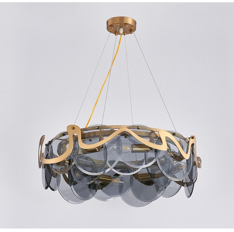 2020 현대 크리 에이 티브 디자인 유리 펜던트 조명 합리화 도금 금속 원형 유리 거실 조명기구 스탠드