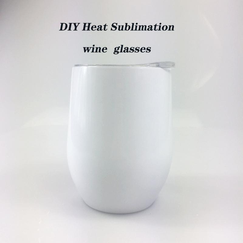 뚜껑 무료로 DIY 열 승화 12온스 와인 텀블러 스테인레스 스틸 와인 잔 계란 컵 스템리스 와인 잔 발송