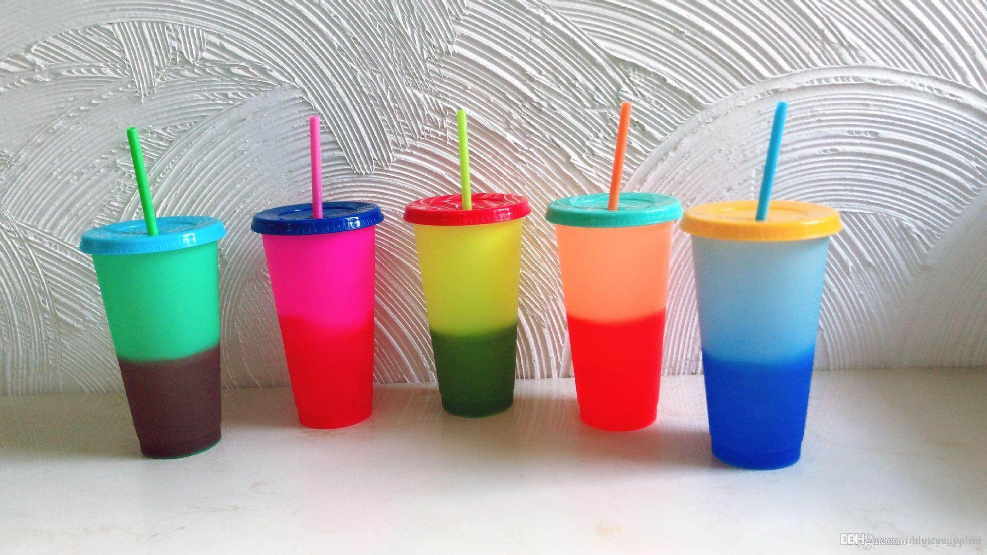 color de 24 oz cambiar frío taza y botellas de agua de cambio de color calientes froasted y multicolor variedad de tazas con tapa y strawA02