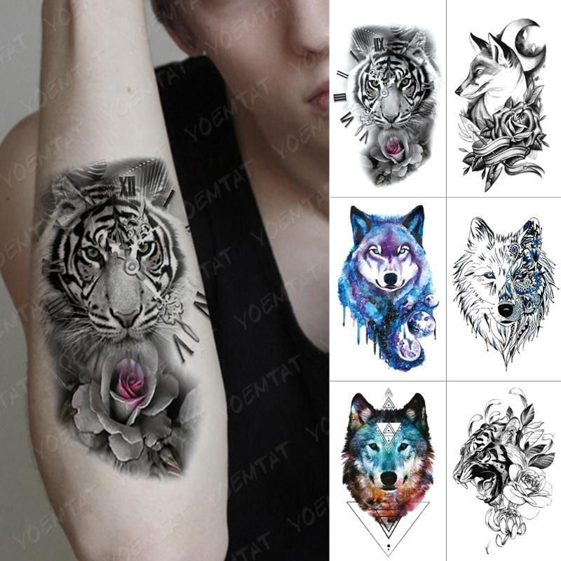 Поддельный Передача Водонепроницаемый Временные татуировки наклейки лес часы вспышки Татуировки Волк Tiger Lion Body Art Arm Вода Tatoo Мужчины