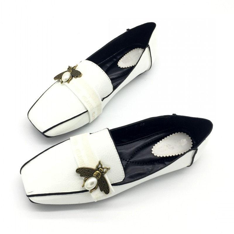 2020 الأنيقة الأزرق النحل النساء عارضة المتسكعون ربيع الخريف مربع تو الانزلاق على الشقق للمرأة السيدات أحذية واحدة زائد الحجم