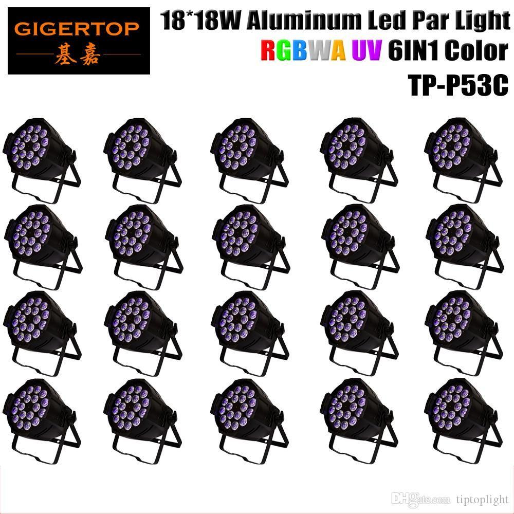 Best Selling 20pcs/lot RGBWA UV 6IN1 18x18W Stage Light Led Par Light Professional Wedding Wash Led Par Cans 330W TP-P53C