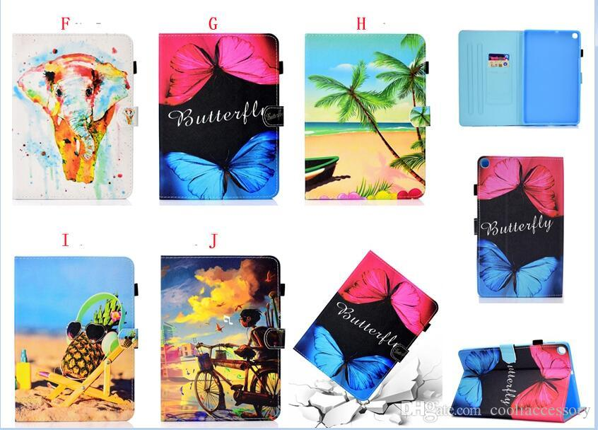 Flower Wallet Leather Case For Samsung Galaxy Tab A 10.1 2019 T510 T515 Tab A 8.0 P200 P205 S5e T720 T725 Tablet Owl Beach Sand Stand Cover