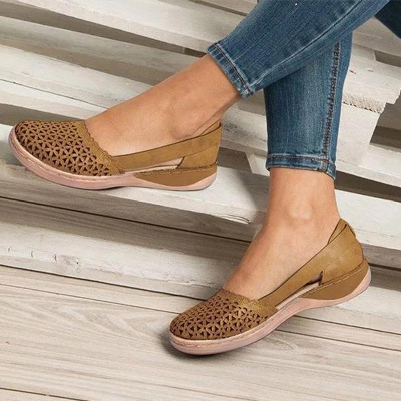 Женщины клинья сандалии Женщина скольжение на выдалбливают случайных женщина обуви Женского PU Vintage 2020 дамы удобной обувь Plus Size
