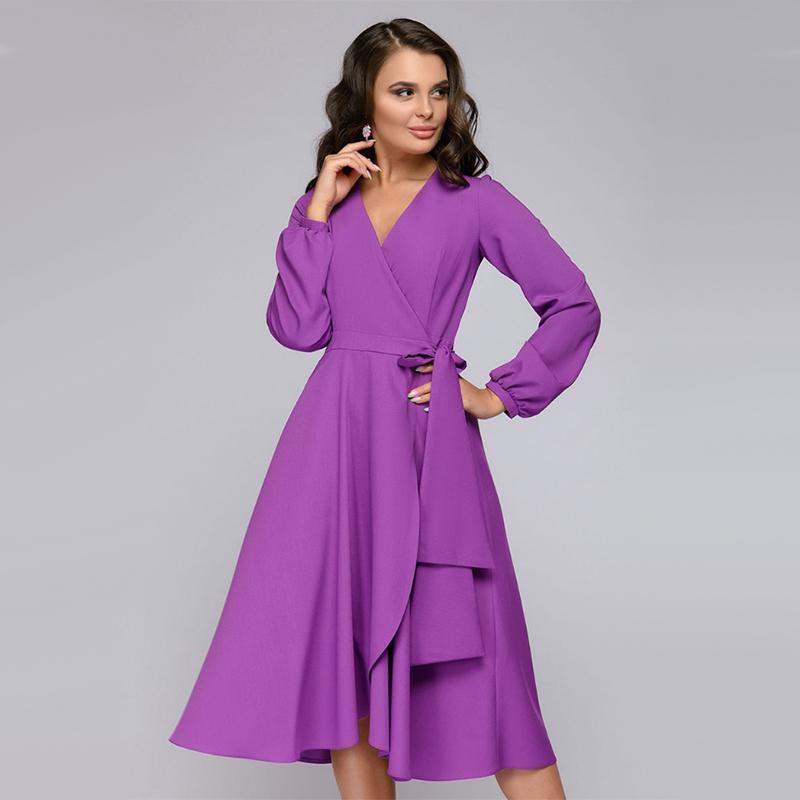 Frauen-Weinlese-Schärpen eine Linie Partei-Kleid-Damen-Langarmshirt mit V-Ausschnitt Sexy eleganten Kleid 2019 neuen Herbst-weibliches Kleid OL Art T200518