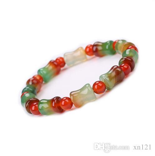 자연 붉은 녹색 마노 대나무 유형 스트레치 작은 팔찌 메이든 크리스탈 구슬 섬세한 팔찌 러블리 소녀 선언문 쥬얼리