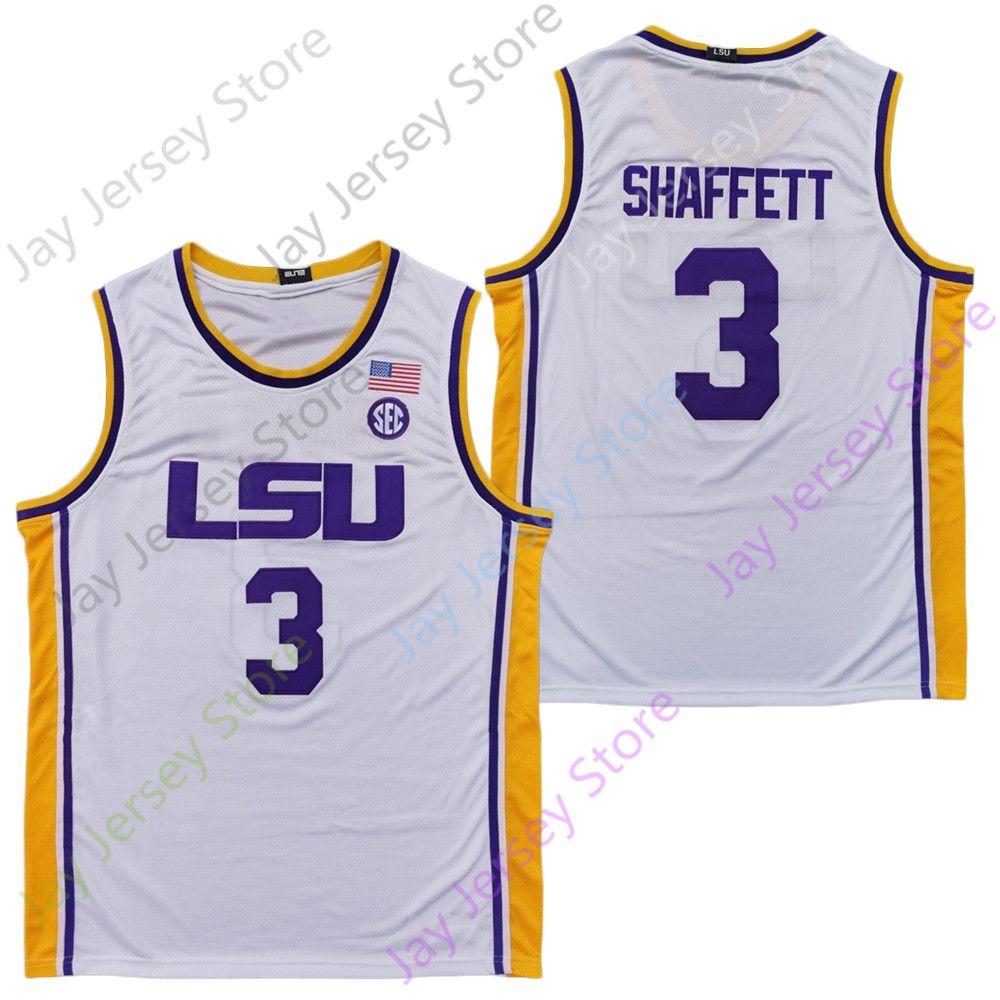 2020 Nova NCAA LSU Jerseys 3 Shaffett Basketball Jersey Faculdade Tamanho Youth Adulto Todos bordado costurado