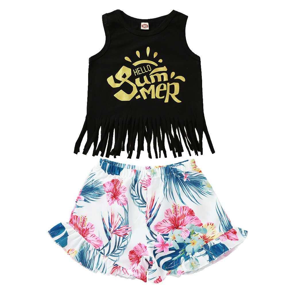Filles Fringe Tank Top + Pantalons floraux Set d'été 2020 pour enfants Vêtements Boutique 0-3T Little Girls Letter 2 Tenues PC