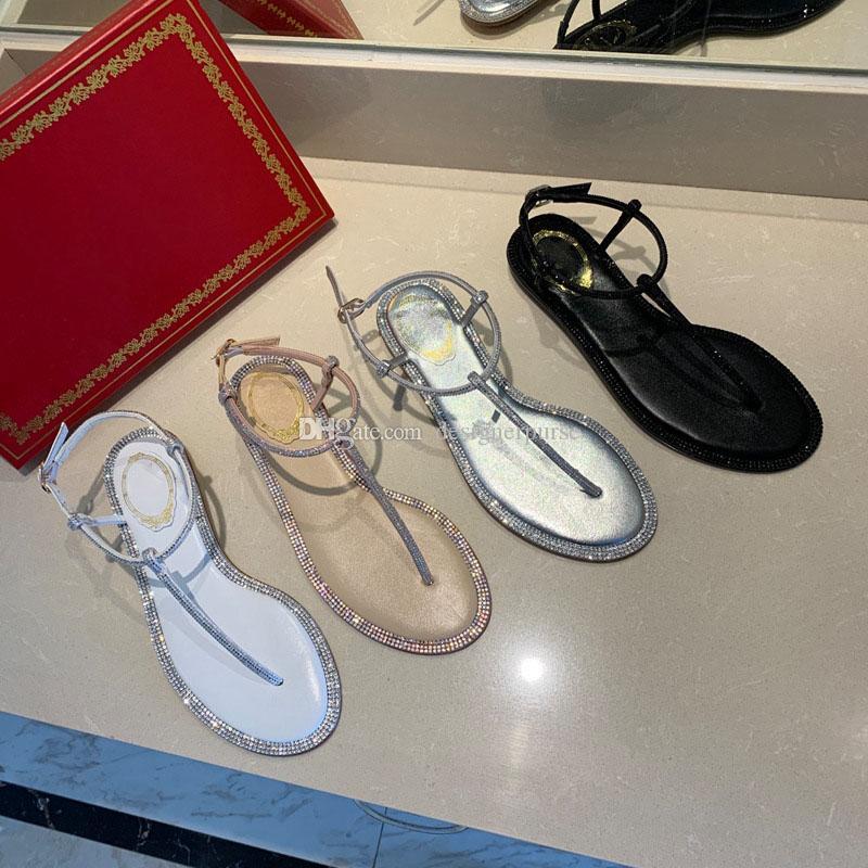 الصندل الكلاسيكي الصيفي rc t-strab Bow Flat shoes المصممات صندل أزياء 2020 favour designer flops women sandal with pearls