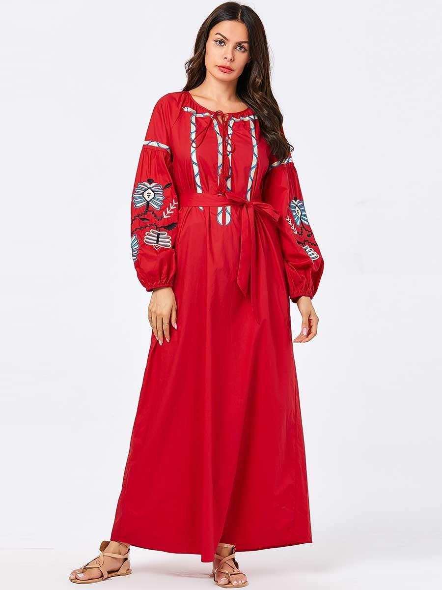 Mc209030 Dimensioni delle donne rosse ricamato bolla manica arabo notevole oscillazione lunga delle donne Abayas vestiti del vestito musulmano Saudita