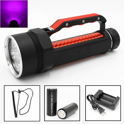 New Ultra Violet Diving Flashlight 4 6 UV LED Waterproof 395nm 1800 lumens Purple Light Torch Linterna With 26650 Battery Charger