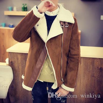 Brand designer - free shipping Fall-Shearling Winter Coat Faux Fur Suede Jacket Sid Zip Lamb Wool Mens Sheepskin Coat