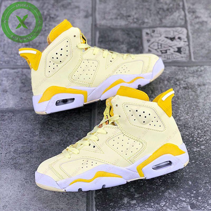 Con Zapatos Caja Hare Rose 6 GS floral dinámico amarillo para mujer de baloncesto femenino carmesí Tint 6s Deportes zapatillas de deporte de Jumpman Entrenadores Chaussures