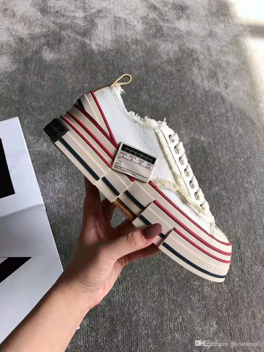 2019 mode moderne limitée XVESSEL G.O.P. Lows chaussures noires en toile rouge bleu jaune pour hommes, femmes avec la taille pas cher prix: 35-44