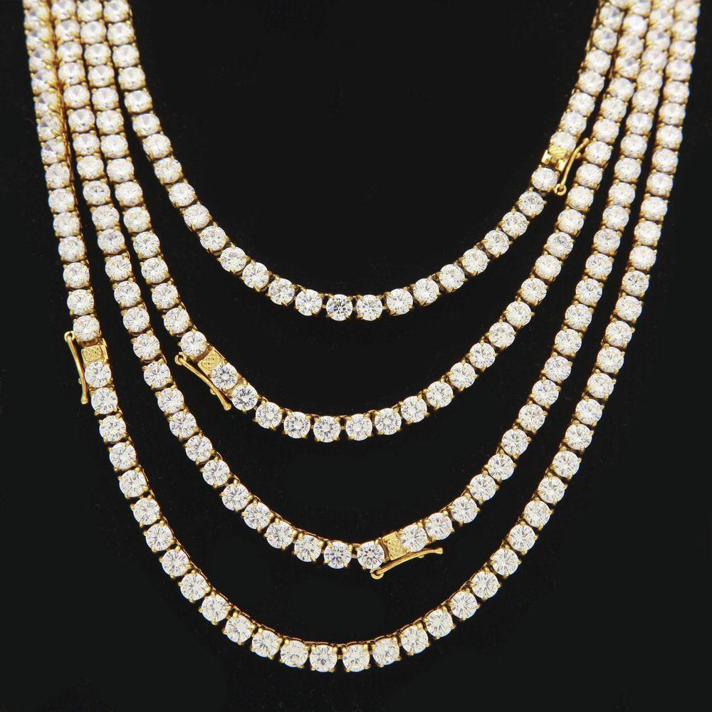 5 мм хип-хоп Шику льда из 1 ряд CZ камень теннис цепи ожерелье золото из нержавеющей стали цирконий колье ожерелья мужчины ювелирные изделия