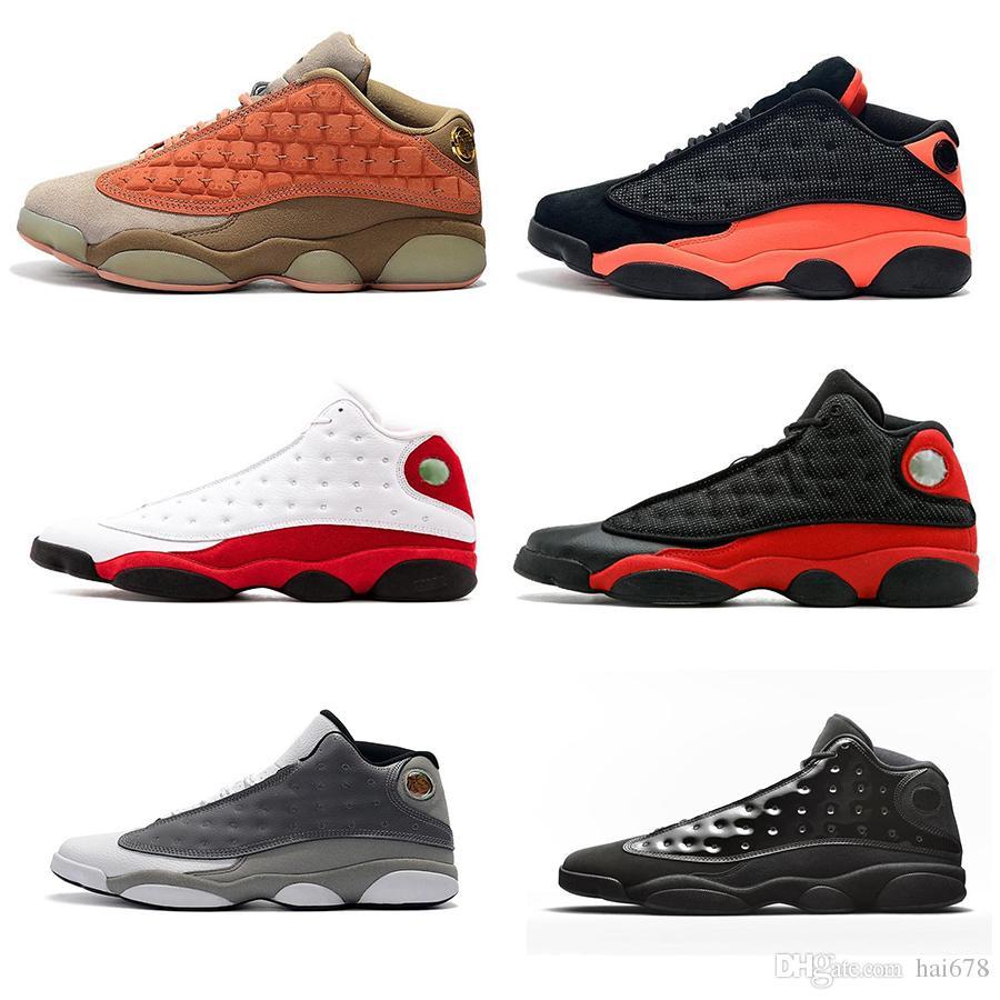 13 Kap ve Kıyafeti 13 s Siyah Kızılötesi erkekler basketbol ayakkabı Atmosfer Gri GS pıhtı Pişmiş Allık XIII OG erkek bred spor Sneakers Atletizm