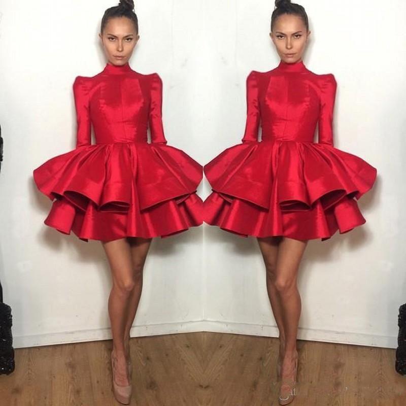 Мода Короткие Выпускные платья красный с длинным рукавом Многоуровневое Ruffled Майкл Костелло Пром платье девушки коктейльное платье