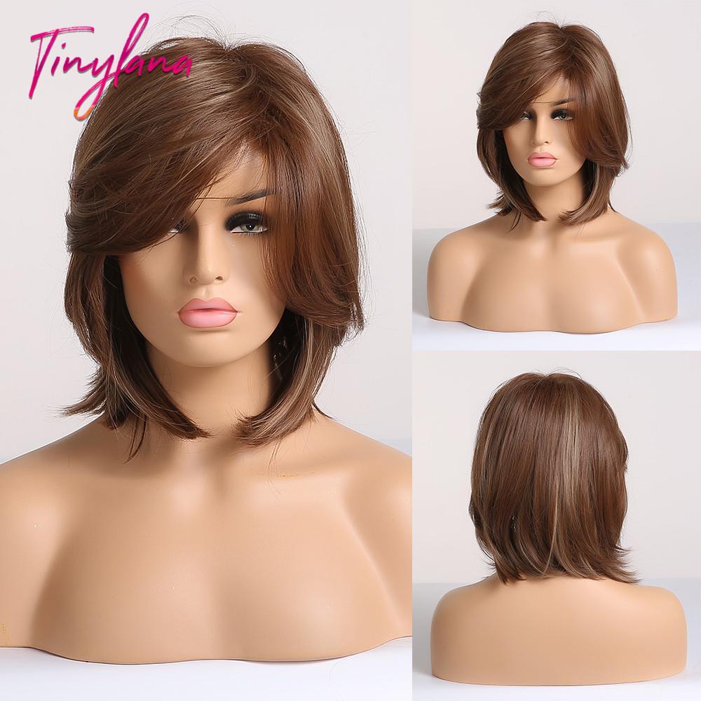 Capelli parrucche sintetiche (per il nero) TINY LANA sintetico parrucca capelli Bob con frange laterali misto Marroni Colore naturale della linea sottile Calore Lavoro Resistente