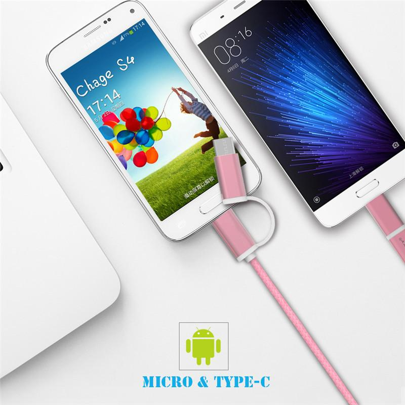 2 en 1 micro câble USB Type C 2.4A Type de charge rapide Type-C câble de chargeur rapide Câble tressé de câble pour LG Sony Xiaomi