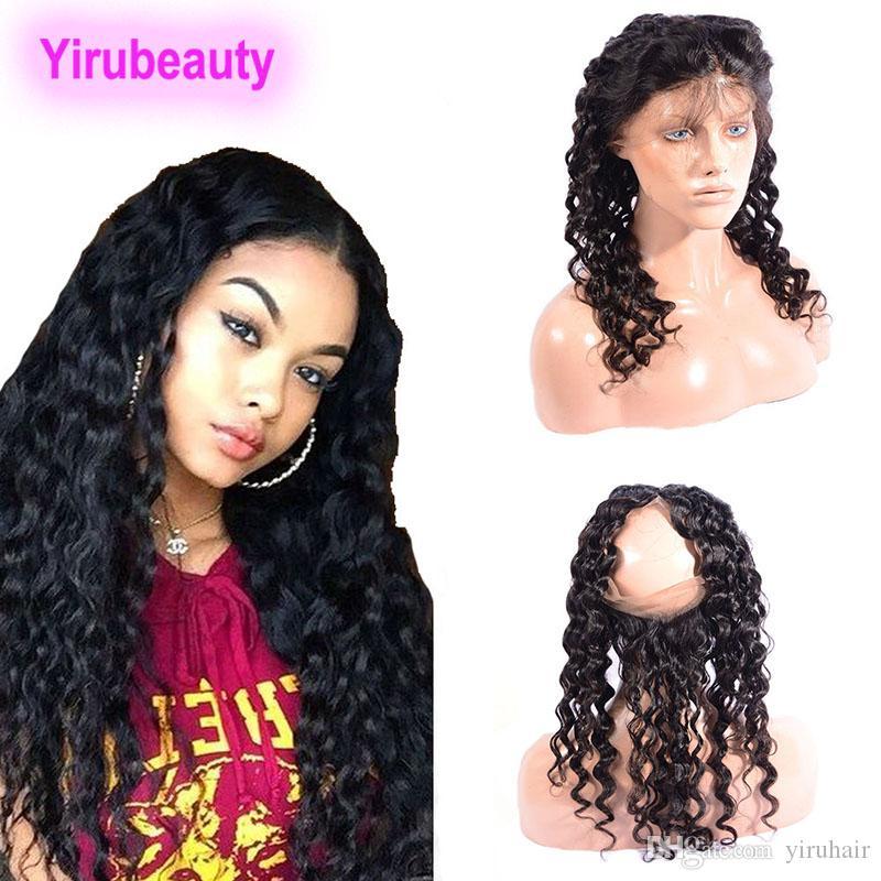 Pelo humano brasileño Onda profunda de profundidad Rizado 360 Encaje Frontal pre arrollado Natural Negro Virgen Human Hair Troncos con cierre frontal