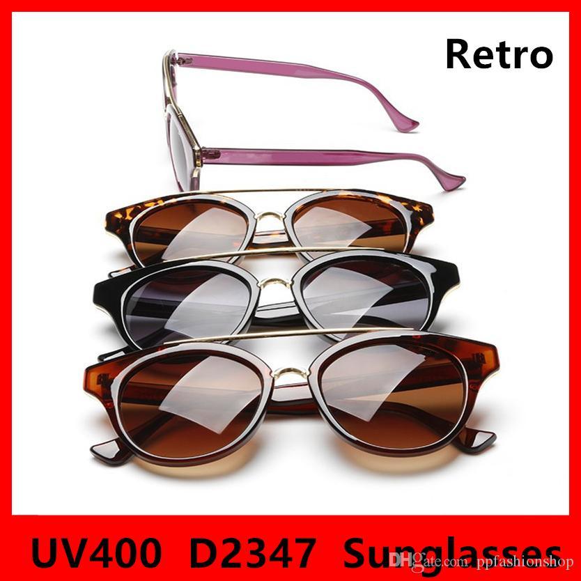 Nouveau Retro 2347 Lunettes de soleil Mode Designer Classic Eyeglasses UV400 Cadre rond Lunettes de marque 4 couleurs avec boîte