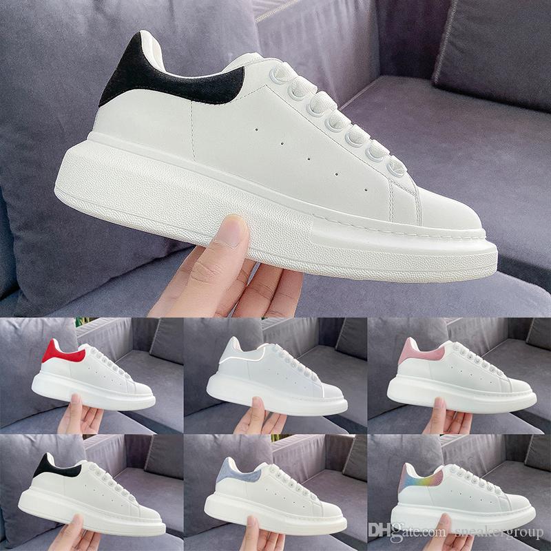 2019 Designer de Moda de luxo Das Mulheres Dos Homens sapatos sapatilhas De Couro De Veludo preto Branco Vermelho Plana sapatos casuais Formadores de