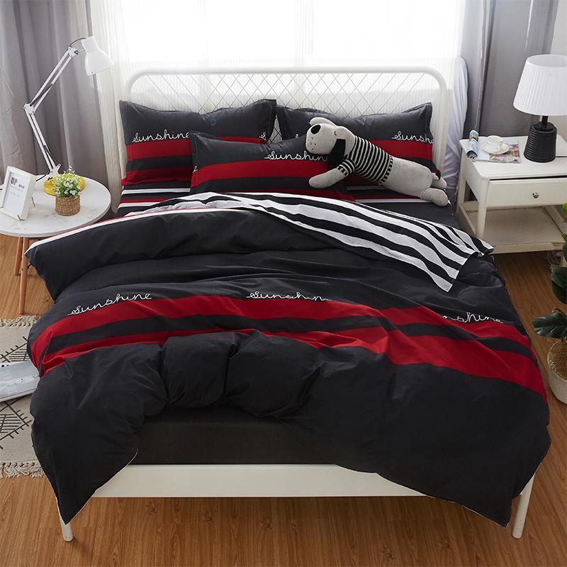 Grau roten Streifen Bettwäsche Set Moderne Business-Mode Gute Qualität Bettbezug Bettbezug Bettlaken Kissenbezüge Neues Muster