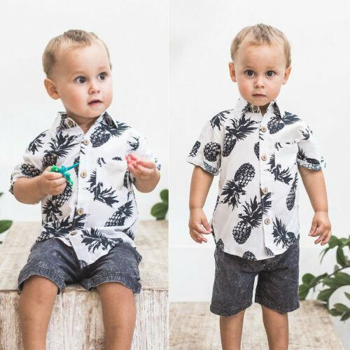 Sommer-Kind-Jungen-Ananas-T-Shirts Weiß Tops