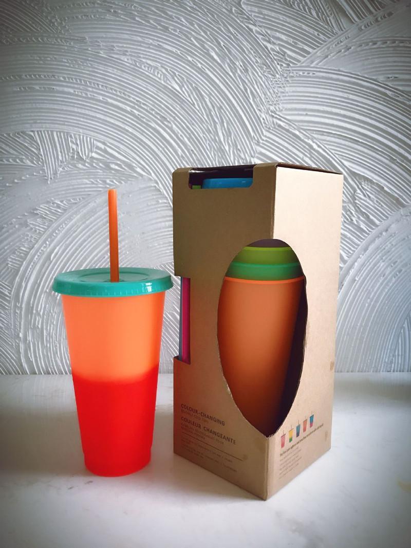 Heißer Verkauf 24 Unzen Farbwechsel Cup BPA frei Magie Kunststoff sippy Schal umweltfreundliche Plastikbecher mit Strohhalm und Deckel 5 Farben eingestellt A04