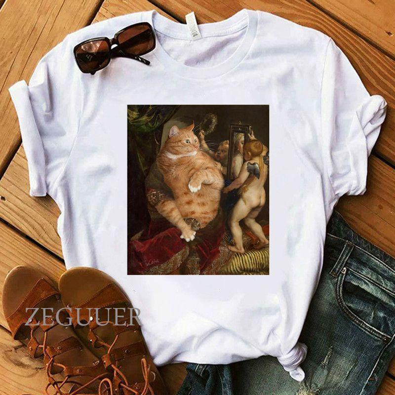 Aceite divertida del gato pintura de la mujer camiseta de Kawaii de la vendimia blanca camisetas chica 100% camisa de algodón del verano de señora Estética precioso Tees