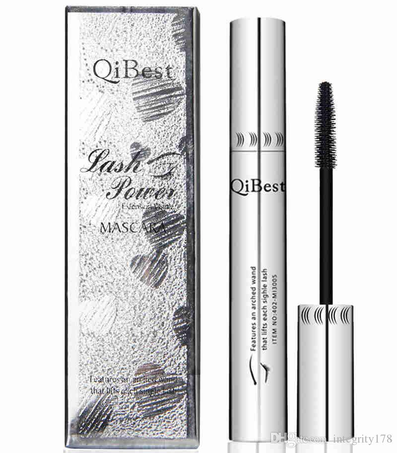 Qibest 덥수룩 한 마스카라 방수 비 - 스머지 실리콘 브러쉬 3d 거대한 검은 마스카라 섬유 아이 메이크업 실버 튜브