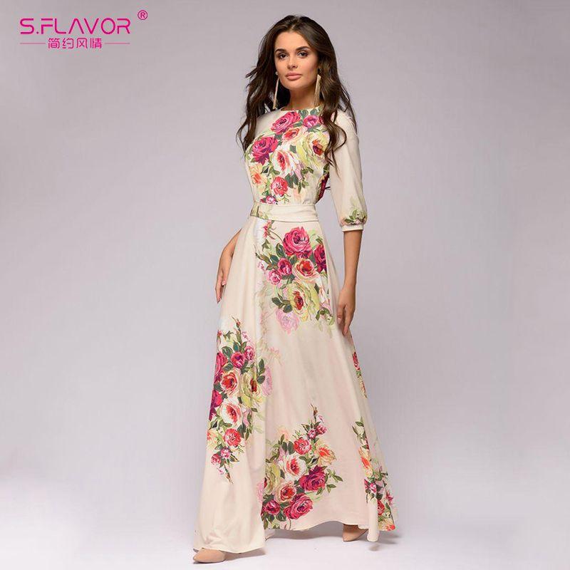 S.FLAVOR floral impresa de las mujeres del vestido largo de estilo bohemio verano Maxi Vestidos de 2020 nuevo de las mujeres vestido ocasional MX200518