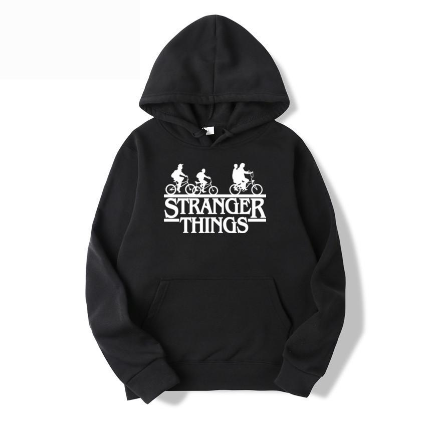 2019 Trendy Faces Stranger Things Hooded Herren Hoodies und Sweatshirts Übergrößen für den Herbst mit Hip Hop Winter Hoodies mit Känguru-Tasche