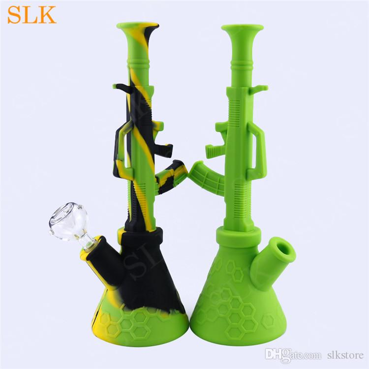 Machine AK47 gun design oil burner glass water pipes oil rigs smoking free shipping tall beaker bong VS 18 inch glass water bongs