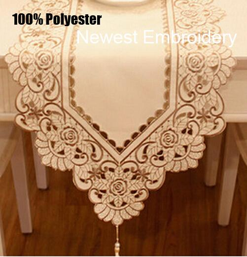 European Embroidery lace Table Runner towel satin kitchen tablecloth Cloth Cover Christmas placemats home wedding decoration
