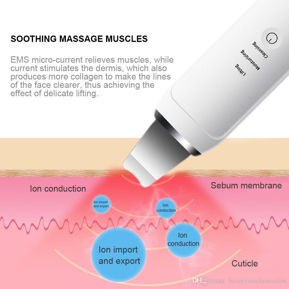 Nettoyeur à ultrasons visage peau Scrubber Ultrason Vibration Massager ultrasons Peeling Clean Tone Lift Scrubber