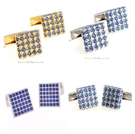 10pairs / lot Şık Mavi Kristal Kol Düğmeleri Altın / Gümüş Kare Rhinestone Kol Düğmesi İşletme / Düğün Hediye Erkek Takı